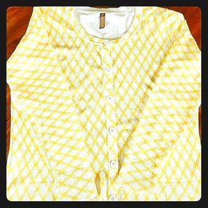 White Stag XL Yellow Print Cardigan Sweater Dressy